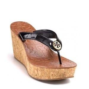 Tory Burch Thora Black patent leather sandal 8.5